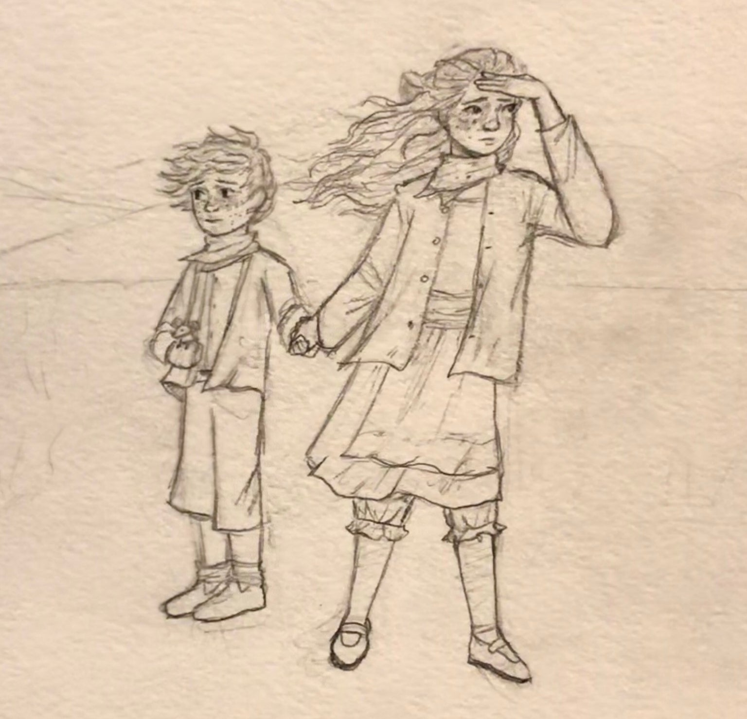 Pencil illustration of Elfa and Holgar