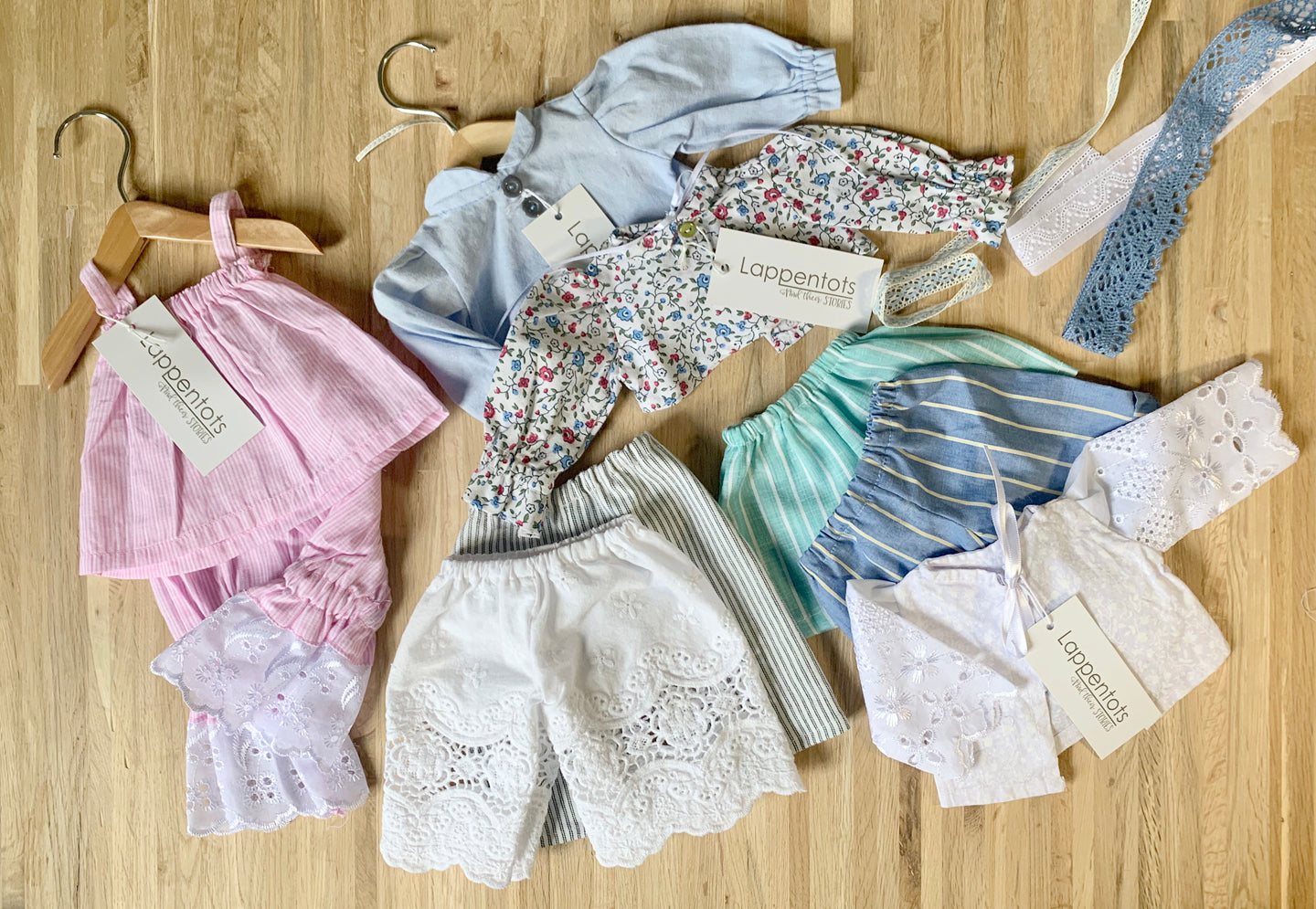Doll clothes, blouse, ribbon, lace, pants