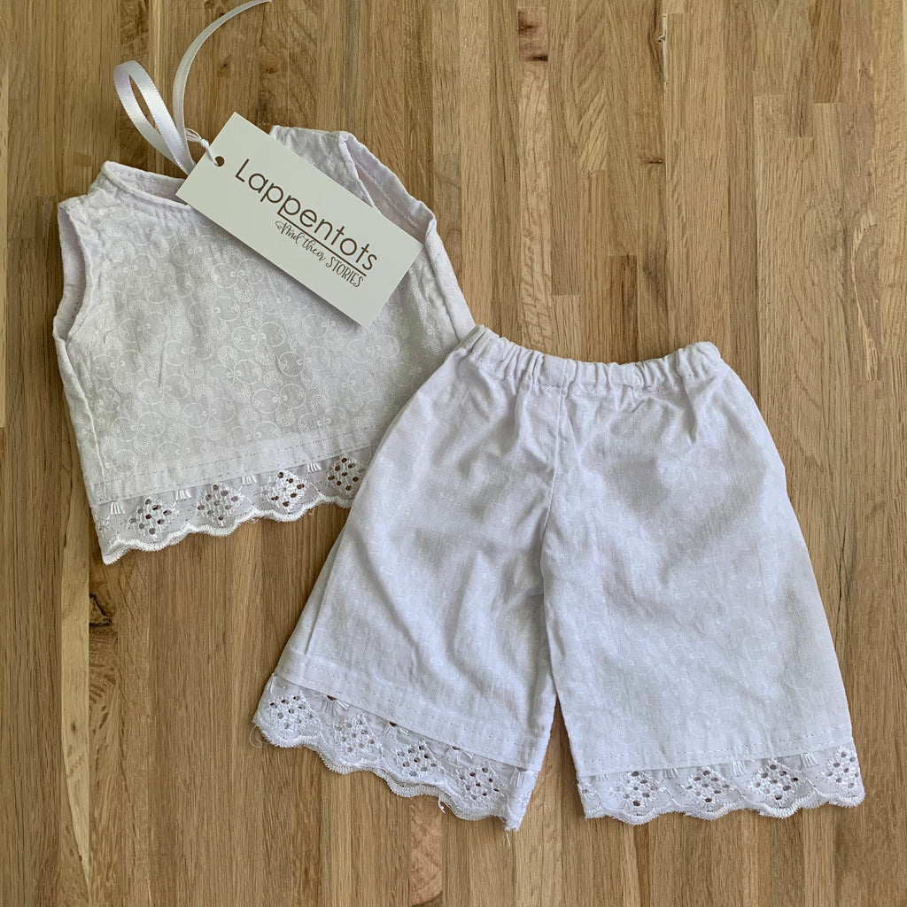 Cloud white chemisette and shorts with lace trim