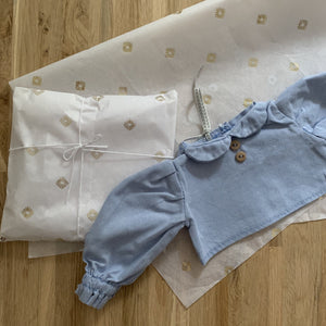 Blue linen blouse