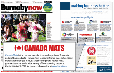 Canada Mats in the BurnabyNow newspaper