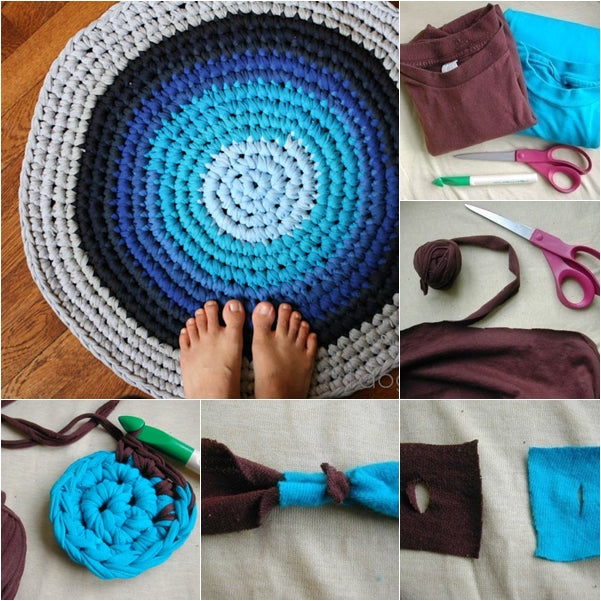 Crochet rug from tshirts