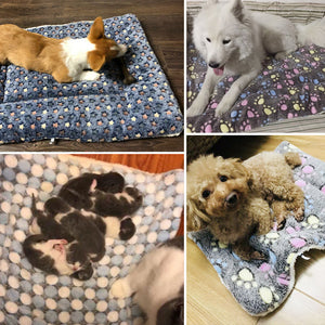 Soft Fleece Pad Pet Blanket Flannel Thickened Pet Bed Mat for Puppy Dog Cat Sofa Cushion Home Rug Keep Warm Sleeping Cover