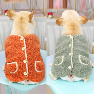 Winter Dog Clothes Warm Fleece Puppy Vest Chihuahua Button Coat Pet Clothing For Small Medium Dogs Coat French Bulldog Jacket #