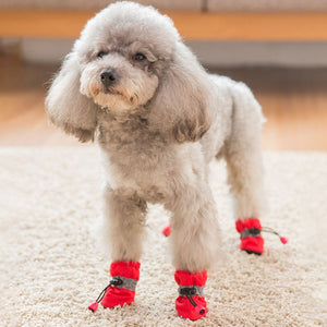 Winter Thick Warm 4pcs Pet Dog Shoes Anti-slip Waterproof Rain Snow Boots Footwear For Puppy Dog Socks Booties Pet Paw Care