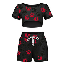 Load image into Gallery viewer, Sexy Women Pajamas Fashion Brief Dog Paw Print Elastic Waist Shorts Two-piece Tracksuit Sets