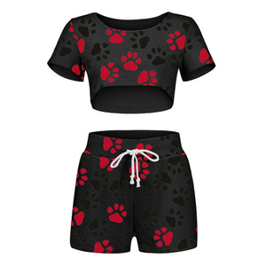 Sexy Women Pajamas Fashion Brief Dog Paw Print Elastic Waist Shorts Two-piece Tracksuit Sets