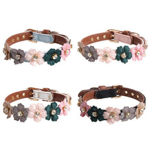 Cargar imagen en el visor de la galería, Pet Adjustable PU Collar for Small Medium Dogs Shiny Lovely Colorful Flowers with Shiny Diamonds