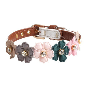 Pet Adjustable PU Collar for Small Medium Dogs Shiny Lovely Colorful Flowers with Shiny Diamonds
