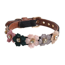 Load image into Gallery viewer, Pet Adjustable PU Collar for Small Medium Dogs Shiny Lovely Colorful Flowers with Shiny Diamonds