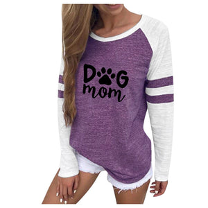 Women Tee Shirts Casual O Neck Dog Mom Print Patchwork T-shirts Long Sleeve Streetwear Harajuku Tops Shirts Mujer