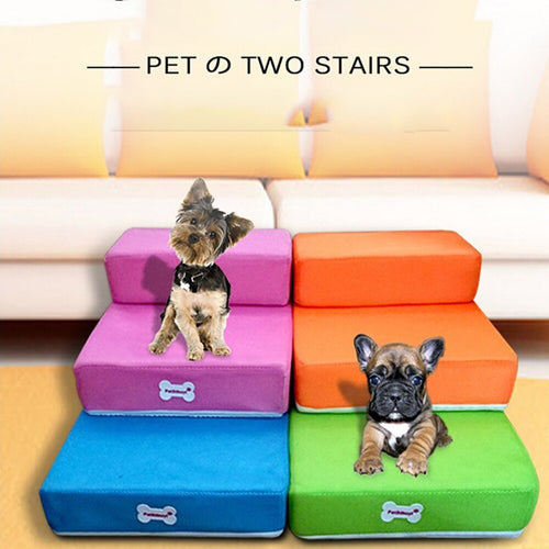 Pet Stairs Ramp Bed Foldable 2 Steps Ladder Jump Stairs for Small Dogs Puppy Cat Bed Cushion Mat Breathable