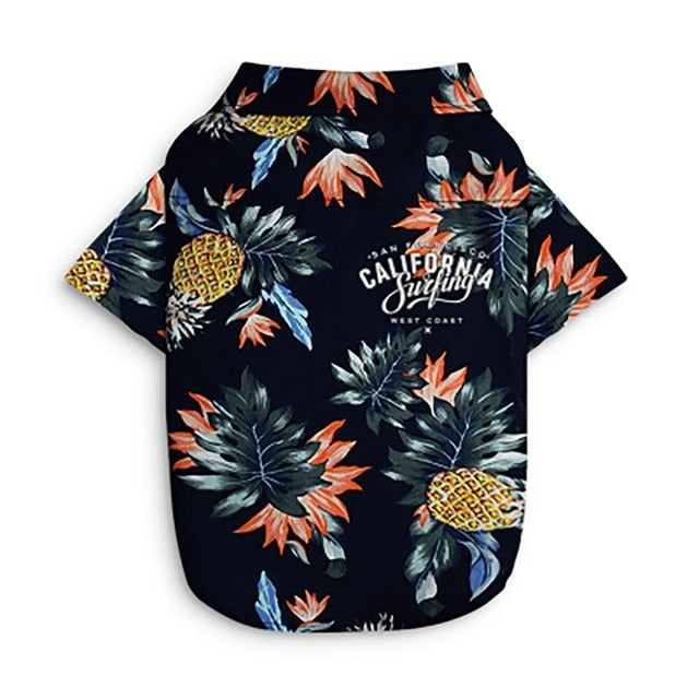 Dog Cat Shirts Cotton Summer Beach Clothes Vest Pet Clothing Floral T Shirt Hawaiian Small Large Dog Chihuahua French Bulldog