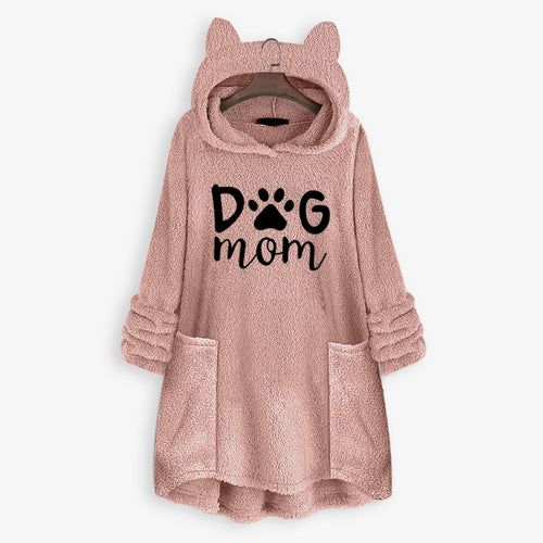 Dog Mom Winter Hoodies Sweatshirt Women Fleece Embroidery Ear Hoodie Sweatshirts Pocket Pullover Top
