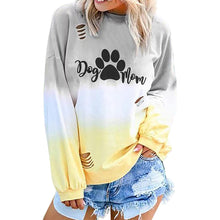 Load image into Gallery viewer, Home&Nest  Women Autumn Winter Gradient Sweatshirts Long Sleeve Casual DOG MOM Letter Printed Hollow Sweatshirt Womens Pullover