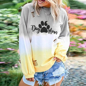 Home&Nest  Women Autumn Winter Gradient Sweatshirts Long Sleeve Casual DOG MOM Letter Printed Hollow Sweatshirt Womens Pullover