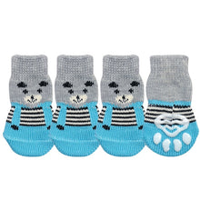 Carregar imagem no visualizador da galeria, 4pcs/lot Dog Shoes Lovely Warm Dog Socks Anti-slip Puppy Cat Knit Socks Cute Cartoon Print Cats Dogs Boots Winter Wear