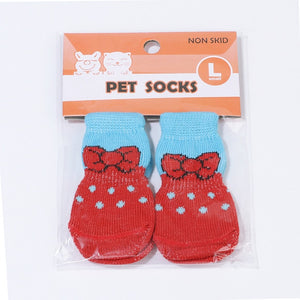 4pcs/lot Dog Shoes Lovely Warm Dog Socks Anti-slip Puppy Cat Knit Socks Cute Cartoon Print Cats Dogs Boots Winter Wear
