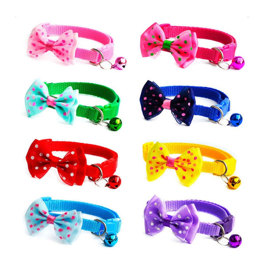 Adjustable Cute Necktie Dog Cat Pet Collar Nylon Bell Kitten Candy Color Bow Tie Bowknot Dog Collars