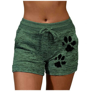 Women Sports Shorts Summer Dog Paw Quick-drying Skinny Shorts Casual Lady Elastic Waist Beach Correndo Short Pants Female #p5