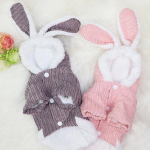 Cute Rabbit Design Dog Hoodie Winter Pet Dog Clothes For Dogs Coat Jacket Cotton Ropa Perro French Bulldog Pug Pets Clothing