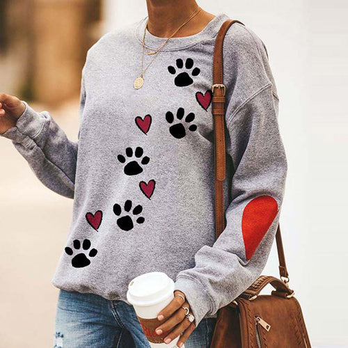 Dog Paw Print Sweatshirt Fashion Women O-Neck Love Printed Hoodie Long Sleeves Tops Pullover Female Streetwear Hoody Plus Size