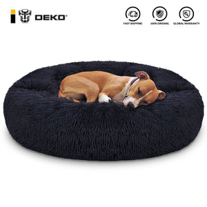DEKO Super Soft Pet Dog Beds Kennel Round Cushion Fluffy Cat House Warm Comfortable Sleeping Mat Sofa Washable Puppy Supplies