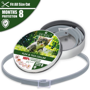 Dewel Cat Dog Collar Anti Flea Ticks Mosquitoes Outdoor Adjustable Pet Collars 8 Months Long-term Protection Pet Accessories
