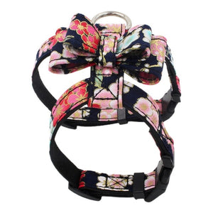 Chest Strap Collar Nylon Cat Harness Vest Japanese Printing Style Printed Pet Chest Strap Fabric Bowknot Dog Chest Strap