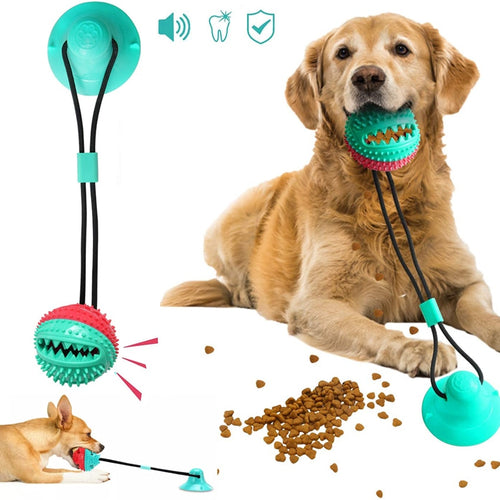 Dog Toy Silicon Suction Cup Tug Interactive Dog Ball Toys For Pet Chew Bite Tooth Cleaning Toothbrush Dogs Food Toys