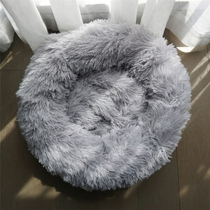 Pet Dog Bed Warm Fleece Round Dog Kennel House Long Plush Winter For Medium Large Dogs Cats Soft Sofa Cushion Mats