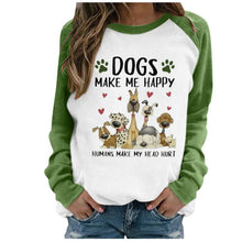 Load image into Gallery viewer, Women's Fashion Graphic Tee Casual Lovely Dog Printing Raglan Long Sleeve Shirts Tops