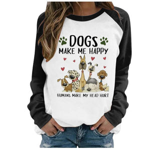 Women's Fashion Graphic Tee Casual Lovely Dog Printing Raglan Long Sleeve Shirts Tops