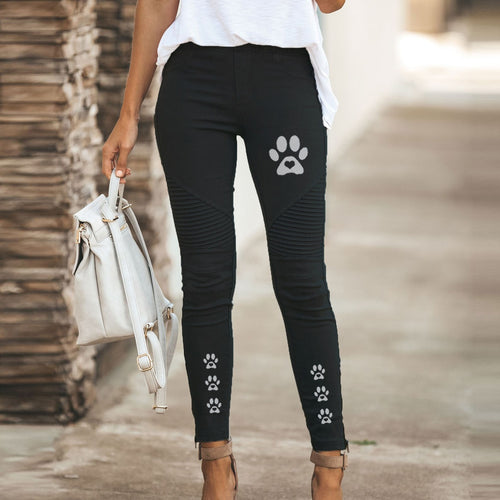 High Waist Pants Jeans Zipper Slim Leggings Tight Women Long Trousers Casual Streetwear Vintage Pants Cute Dog Paw Printing