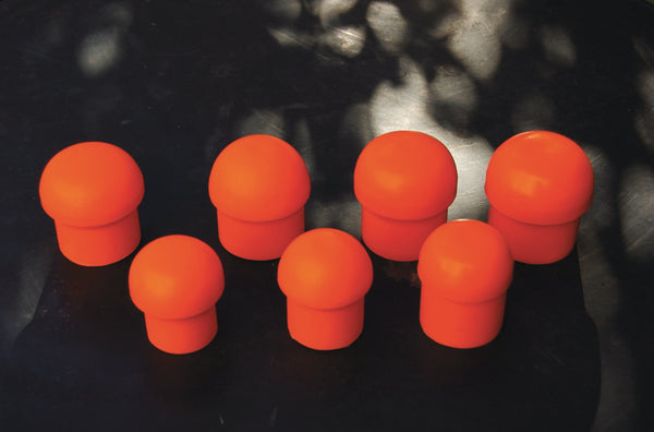 Pole Plugs Orange Hard Rubber