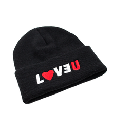 "Load image into Gallery viewer, <img src=""http://brianwoodonline.com/loveu.jpg""><br><i> LOVEU beanie</i>"