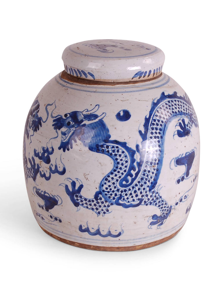Blue and White Jar with Dragon Design