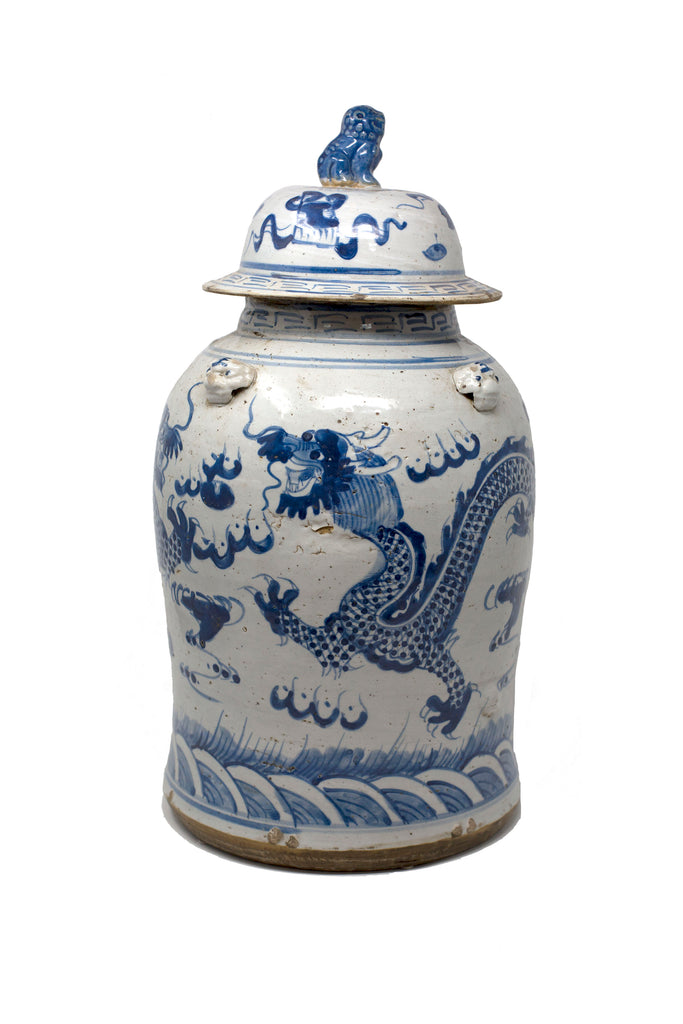 Blue and White Dragon Design Jar
