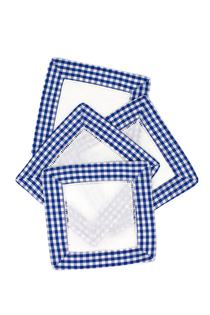 Gingham Cocktail Napkin Set, Navy