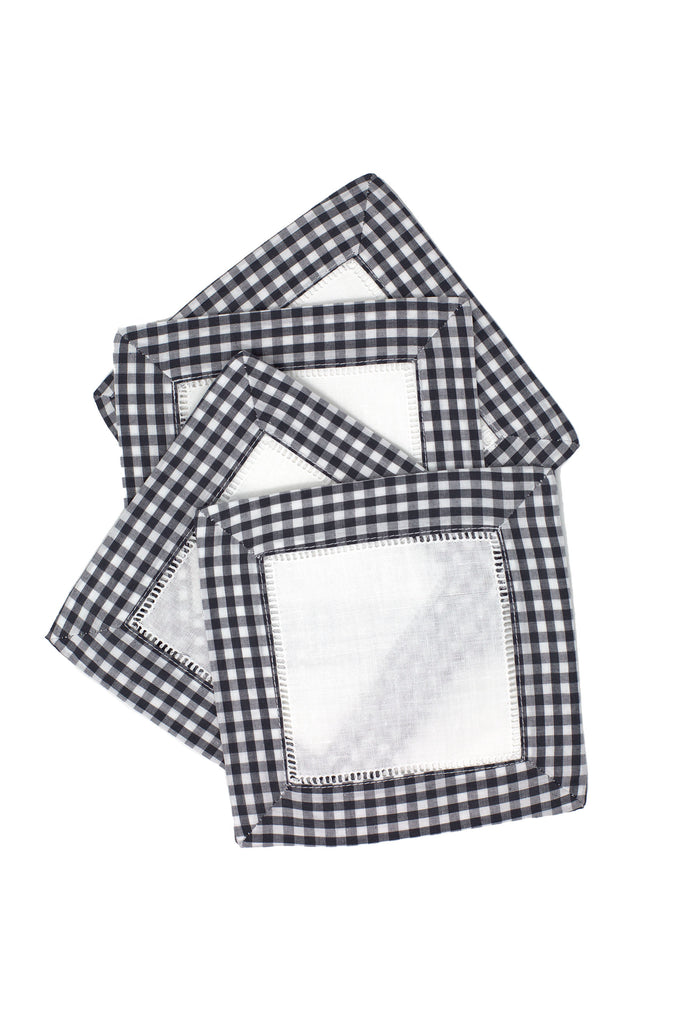 Gingham Cocktail Napkin Set, Charcoal