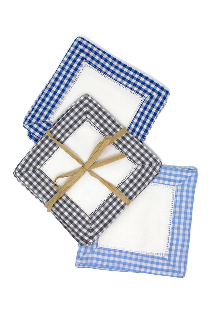 Gingham Cocktail Napkin Set, Light Blue
