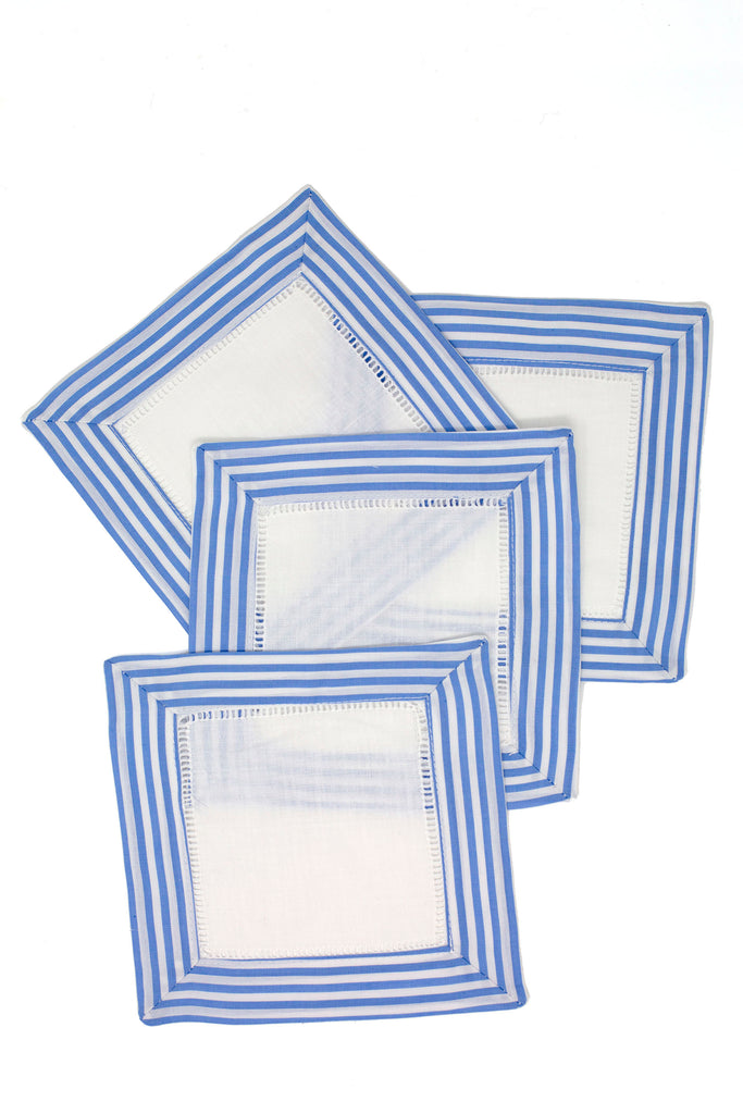 Light Blue Striped cocktail napkin set