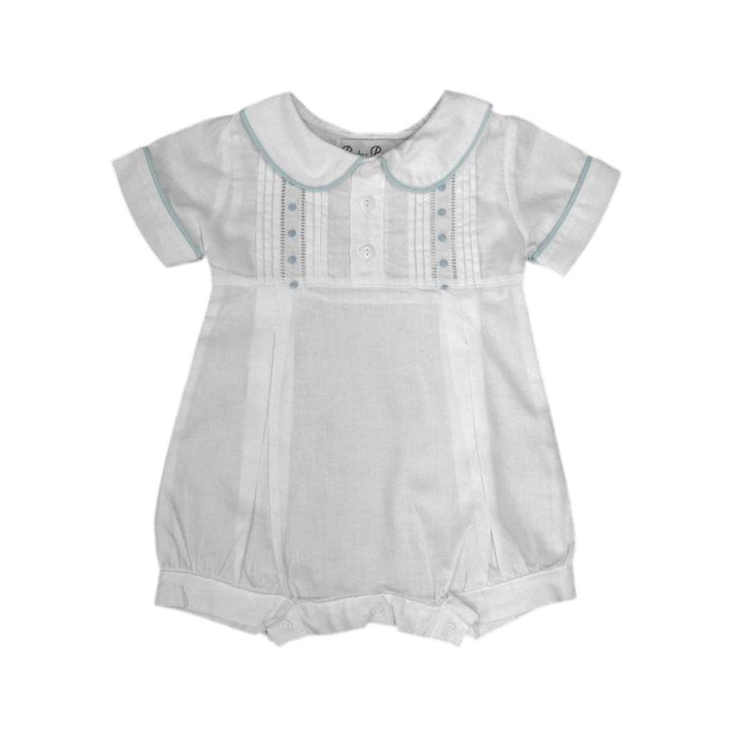 Swiss Dot Romper, Blue