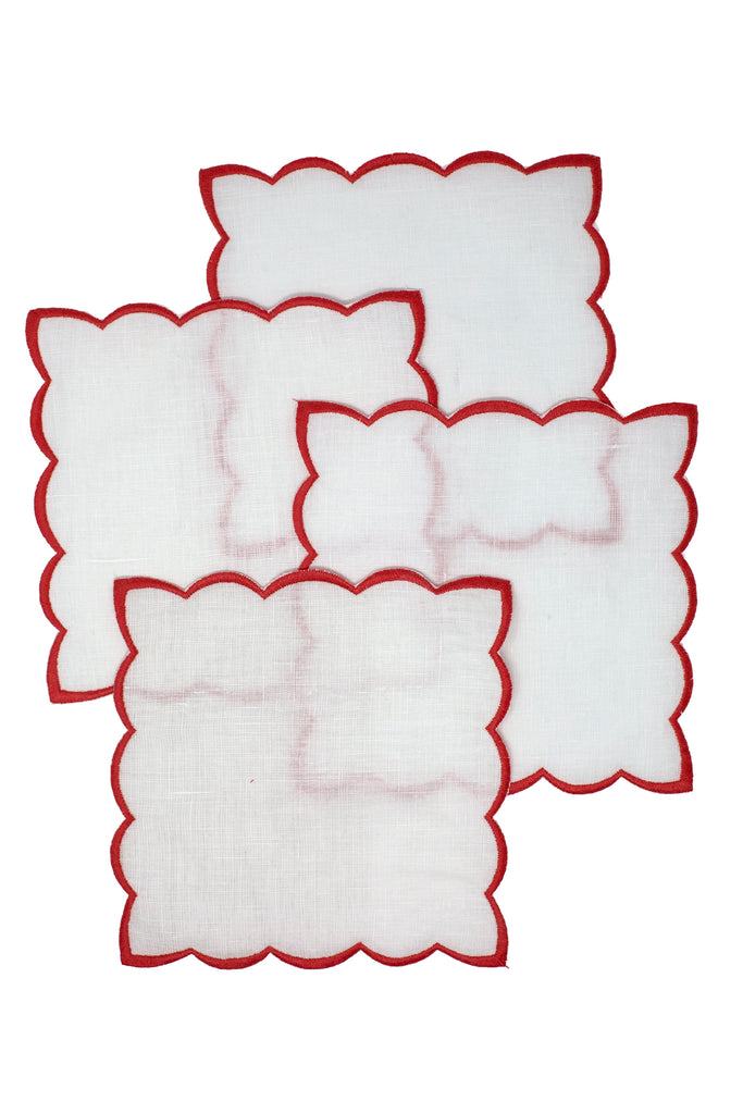 Red Cocktail napkins with color trim set