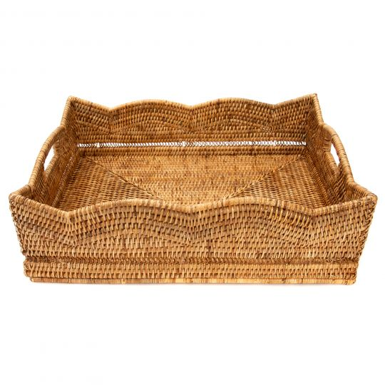 Handwoven Scalloped Rectangular Basket Tray, Large