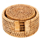 Handwoven Round Coaster Set with Box, Set of 6