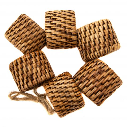 Handwoven 6 Piece Oval Napkin Ring Set