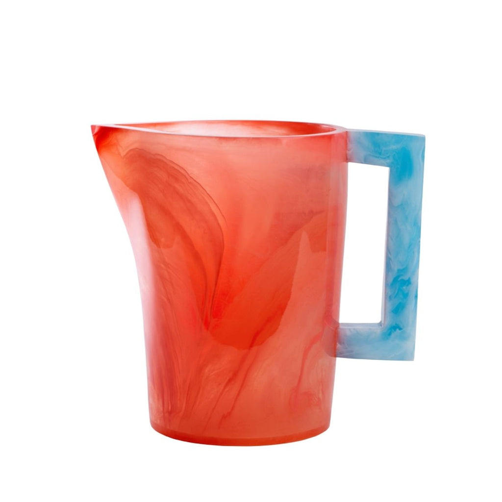 Resin Pitcher, Pink/Sky Blue Handle