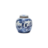 Blue and White mini jar with kids playing under tree motif