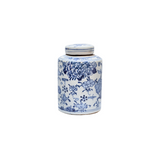Blue and White Mini Tea Jar Lotus Floral